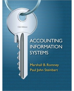 Test Bank for Accounting Information Systems, 12th Edition, Marshall B. Romney, ISBN-10: 0132552620, ISBN-13: 9780132552622, ISBN-10: 0273754378, ISBN-13: 9780273754374